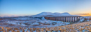 UK, England, North Yorkshire, Ribblehead Viaduct and Ingleborough and Pen-y-Ghent