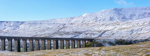 UK, England, North Yorkshire, Ribblehead Viaduct and Whernside mountain, one of the