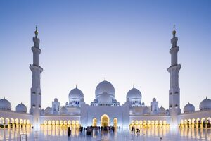 United Arab Emirates, Abu Dhabi. The courtyard and white marble exterior of Sheikh