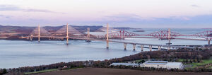 United Kingdom, Scotland, Lothian, rail and road bridges over the Firth of Forth