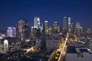 USA, California, Los Angeles, aerial view of downtown from West 11th Street, dusk