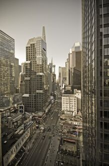 USA, New York City, Manhattan, Broadway looking towards Times Square