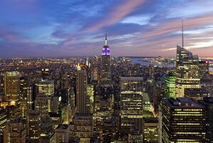 USA, New York City, Manhattan, View of Downtown Manhattan and the Empire State building