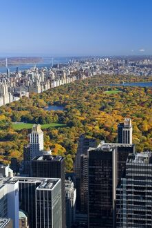 USA, New York City, Manhattan, View of Uptown Manhattan and Central Park from the