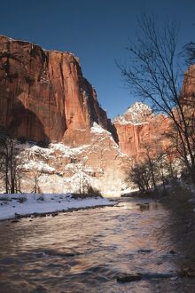 USA, Utah, Zion National Park, Landscape by the North Fork Virgin River, winter