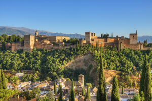 View at the Alhambra from Albaicin, UNESCO World Heritage Site, Granada, Andalusia, Spain