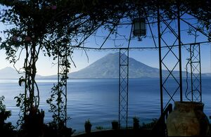 The view across Lake Atitlan from a pergola in the