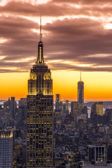Empire States Building Sunset New York City Orange CANVAS WALL ART Picture Print