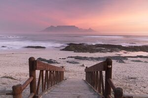 View of Table Mountain from Bloubergstrand at sunset, Cape Town, Western Cape, South