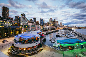 Waterfront and downtown district at sunset, Pier 66, Seattle, Washington, USA