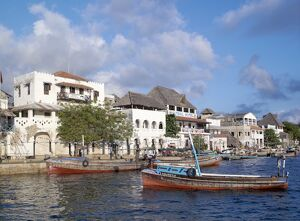 The waterfront of the sheltered, natural harbour of Lamu Island