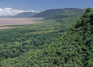 Western wall of the Great Rift Valley above Lake Manyara
