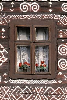 Window of wooden built cottage