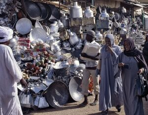 Women shopping in the market at Omdurman where a large