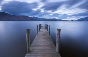 serene landscapes/wooden jetty derwent water lake district cumbria